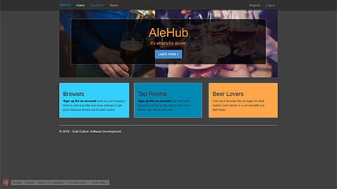 AleHub - ASP.NET MVC application that pairs consumers with their favorite beers, taprooms, and breweries